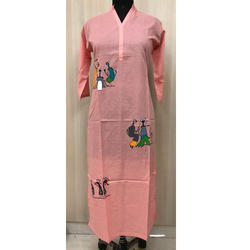 Cotton Long Straight Casual Kurti with Handprint