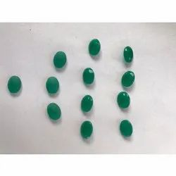 Oval Shape Green Glass Gemstone