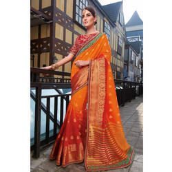 Orange Printed Saree
