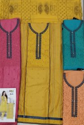 Unstitched Embroidery Suits with Printed Dupatta