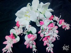 Pink flowers hair brooch