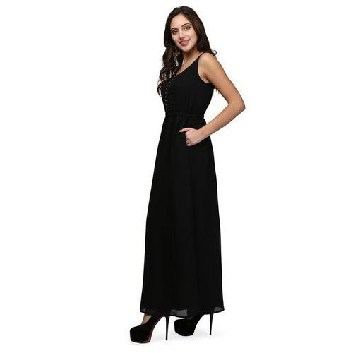 0192914857 Women Black Color Elasticated Waist Maxi Dress at Rs 1839  piece ...