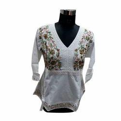 White Ladies Embroidered Kurti