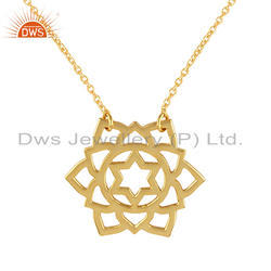 Anahata Chakra Design Gold Plated Indian Silver Chain Pendant