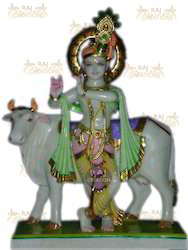 Marble Krishna with Cow Idol