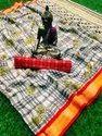 Block Print Patch Border Work Chiffon Saree With Blouse Piece, Length: 6.30 Meter