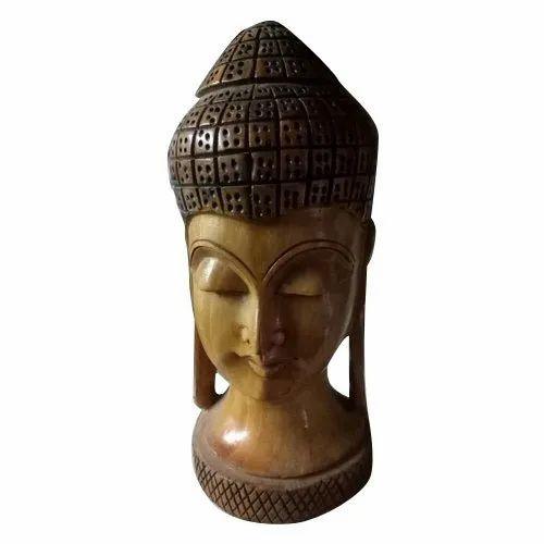 Tiya Art And Crafts Wood Wooden Buddha Head