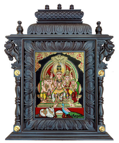 Shiva Durbar Tanjore Painting With Temple Frame