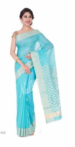 b10aa73e864 Ceremony Zari Butta Turquoise Green Chanderi Silk Cotton Saree