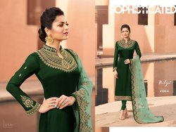 Green Colour Full Sleeve Embroidery Work Straight Suit