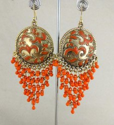 Alloy Girls Nk Handmade Fashionable Oxidized Golden Orange Earrings