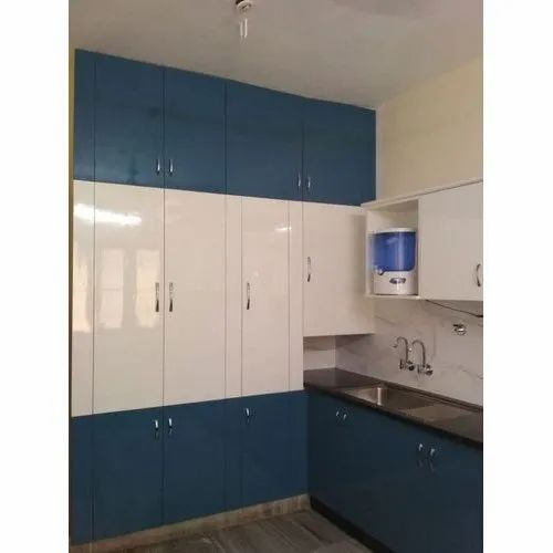 Blue White Laminated Kitchen Cabinet Rs 600 Square Feet Sunrich Interior Manufacturing Private Limited Id 20574637291