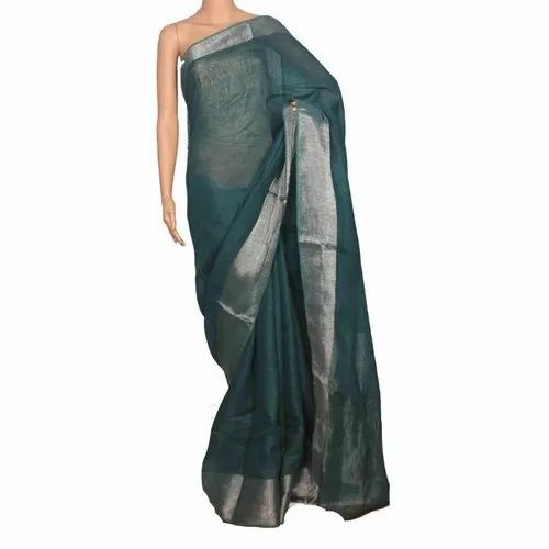 f1a93905ff3ca Party Wear Traditional Ladies Forest Green Linen Saree