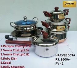 S S Utensil Set Of 5 - Parippu Chetty-belly Saucepan- Kadai