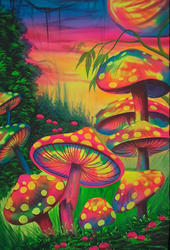 FLUORESCENT COLOR Cotton Canvass Or Syntheic Silk And Mushroom Wall Painting UV Painting, Size: Multi