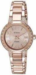 Casio Sheen Analog Rose Gold Dial Womens Watch