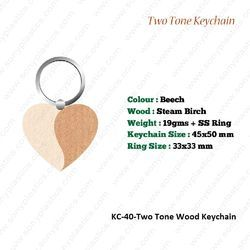 Wooden KeyChain-KC-40-Two Tone
