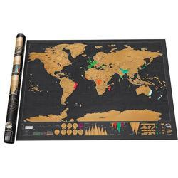 Black Paper Travel World Scratch Map, Size: 63 x 5.5 x 5.5 cm