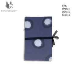 Handmade gift box, Blue gift box with white dots design, black ribbon