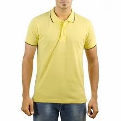 Men Polo Neck Yellow T-Shirt