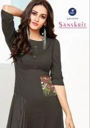 Sanskrit-Vitara  Stylish Rayon Slub With Embroidery Work Designer Kurtis
