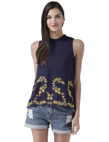 Womens Polyester Sleeveless Navy Top with Embroidery