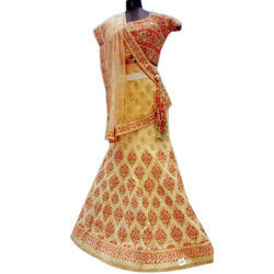 Semi-Stitched Light Colored Embroidered Lehenga