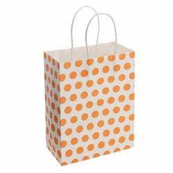 Dot Printed Handle Kraft Paper Gift Bag, Capacity: 1-5Kg