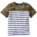 Camo-block Striped Tee