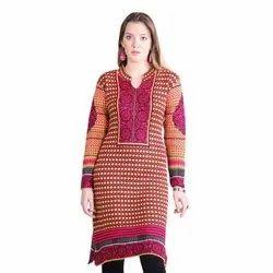Casual Wear Regular Ladies Woolen Kurti, Wash Care: Machine and Hand Wash