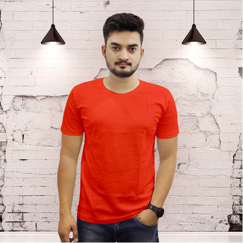 c8f851e0 Mens Cotton Round Neck Orange T-Shirt, Rs 349 /piece, The Chambal ...