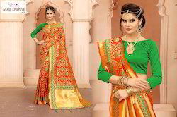 Party Wear 5.5 m (separate blouse piece) Banarasi Patola Style Saree, Packaging Type: Poly Bag, With Blouse Piece
