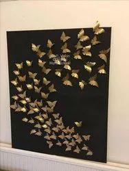 Golden Butterflies On Black Base Board Wall Art