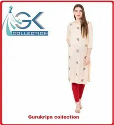 Ladies Rayon Off White Kurti