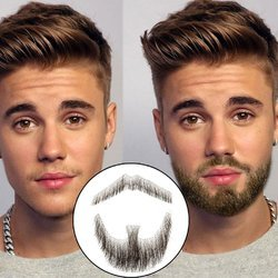Fake Men Mustache Brown Beard 100% Human Hair Made By Full Hand Tied, For Party/ Movie/ Acting