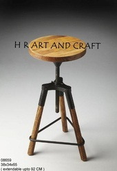 Wood Industrial Bar Stool, Rotatable: No