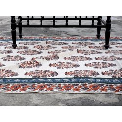 Rectangular 6x9 ft Folk Floral Printed Cotton Durries, Packaging Type: Packet