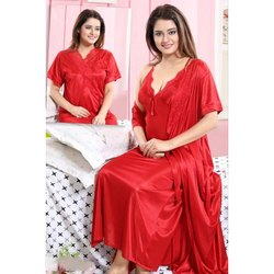 Full Length Half Sleeve Ladies Red Plain Satin Nighty