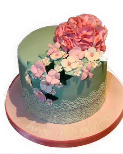 Flower Lace Birthday Cake And Cupcakes Retailer