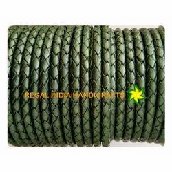 Green Metallic Braided Leather Cord
