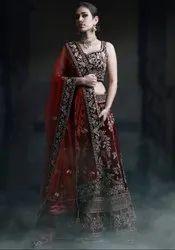 Garnet Maroon Designer Bridal Lehenga Choli