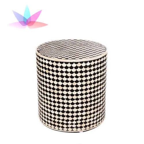 Black And White Bone Inlay Round Bedside Table