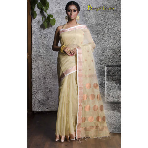 2d92321462 Khadi Chanderi Cotton Saree in Off-White and Copper at Rs 3300 ...