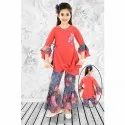 Cotton Printed Girls Bell Sleeves Top With Palazzo Set