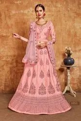 Paramount Slub Embroidered Party Wear Lehenga
