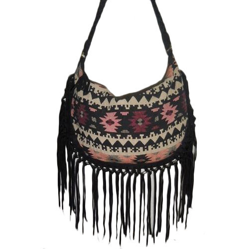 ... Shoulder Bag Purse. Black Multi Jacquard Ladies With Suede Fringe Hobo  Bag 9bdeb1f439
