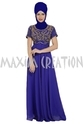 Royal Blue Solid Modern Floor Touch Party Wear Fustan