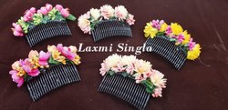 Metal Designer Comb With Floral Decoration, Shape: Circular