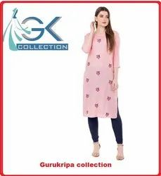 Ladies Rayon Pink Embroidery Kurti