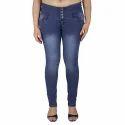 Ladies Blue Faded Denim Jeans